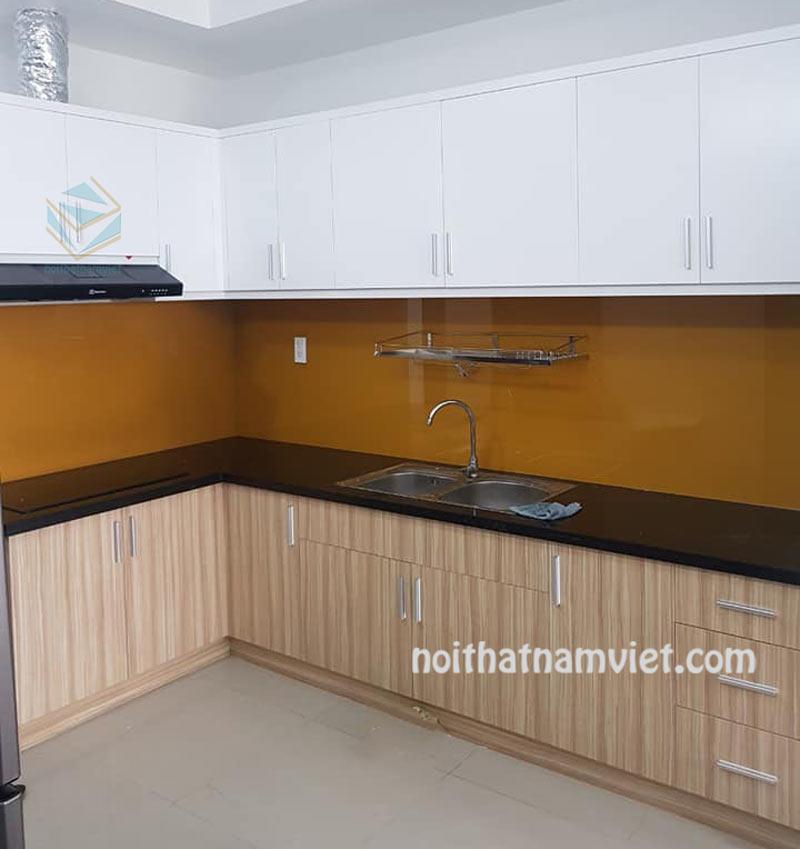 Tủ bếp gỗ Acrylic An Cường bóng gương AC-2101
