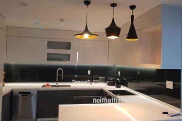 Tủ bếp gỗ Acrylic chữ U kết hợp bàn đảo đẹp tiện nghi AC-2103