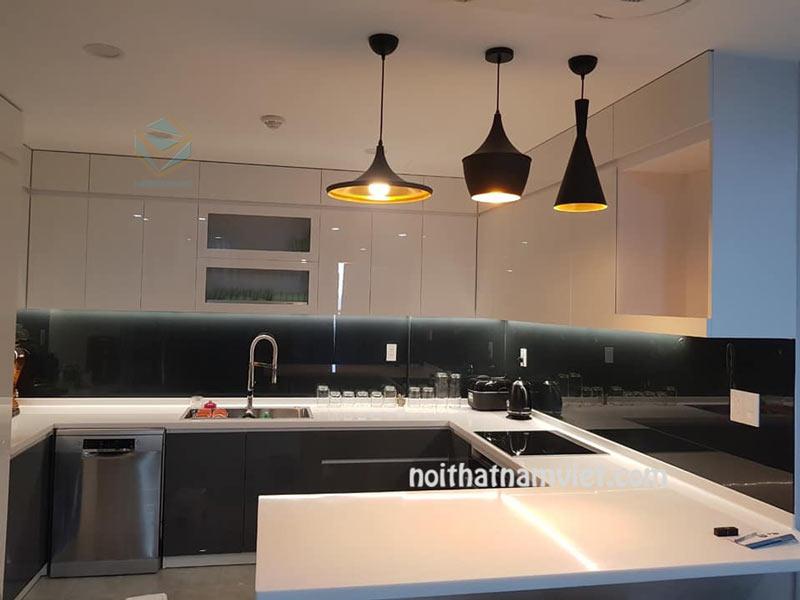 Tủ bếp gỗ Acrylic chữ U kết hợp bàn đảo đẹp AC-2103