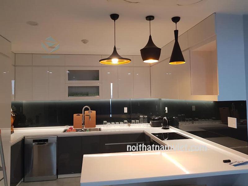 Tủ bếp gỗ Acrylic kết hợp bàn đảo đẹp AC-2103