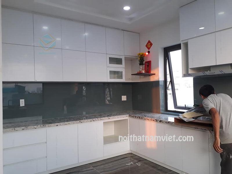 Đóng tủ bếp gỗ Acrylic An Cường giá rẻ tại TpHCM AC-2110