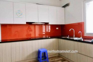 Tủ bếp MDF phủ melamine có tốt không ? Mẫu tủ nhà phố đẹp MM-0033