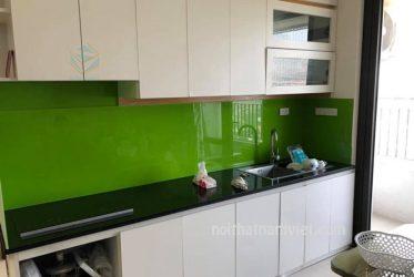 Tủ bếp gỗ Melamine chữ I đẹp đơn giản dành cho chung cư MM-0032