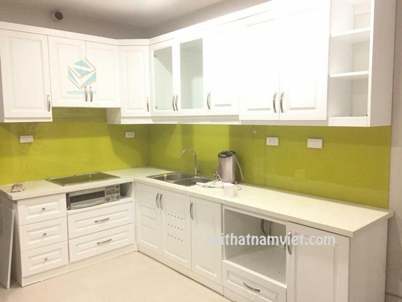 Tủ bếp gỗ acrylic AC-2124 tông trắng