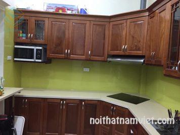 Mẫu tủ bếp gỗ gõ đỏ Nam Phi đẹp GD-3001 giá tốt TPHCM