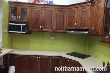 Mẫu tủ bếp gỗ gõ đỏ Nam Phi GD-3001 đẹp chất lượng giá tốt TPHCM