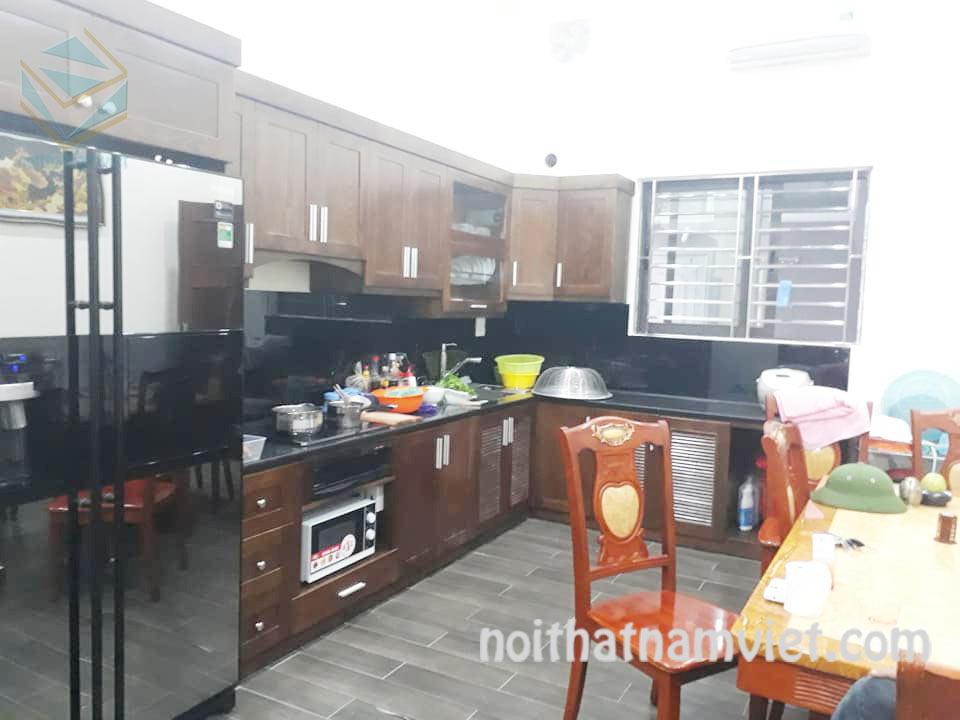 Tủ bếp gỗ Dái Ngựa (Mahogany) tự nhiên cao cấp sang trọngMH-4007