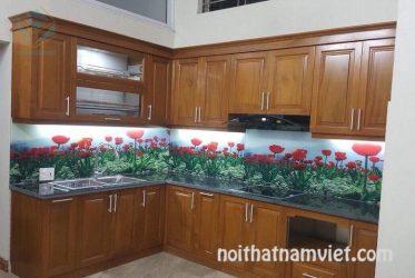 Mẫu tủ bếp gỗ gõ đỏ Nam Phi GD-3001