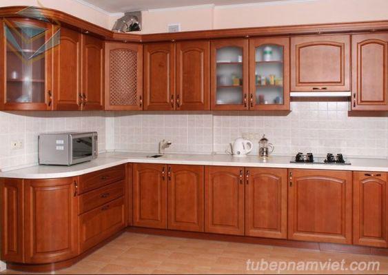 Mẫu tủ bếp gỗ gõ đỏ tự nhiên đẹp sang trọng GD-3005