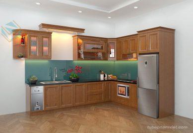 Tủ bếp gỗ sồi Nga đẹp giá tốt nhất tại Quận 12 TpHCM GS-1021