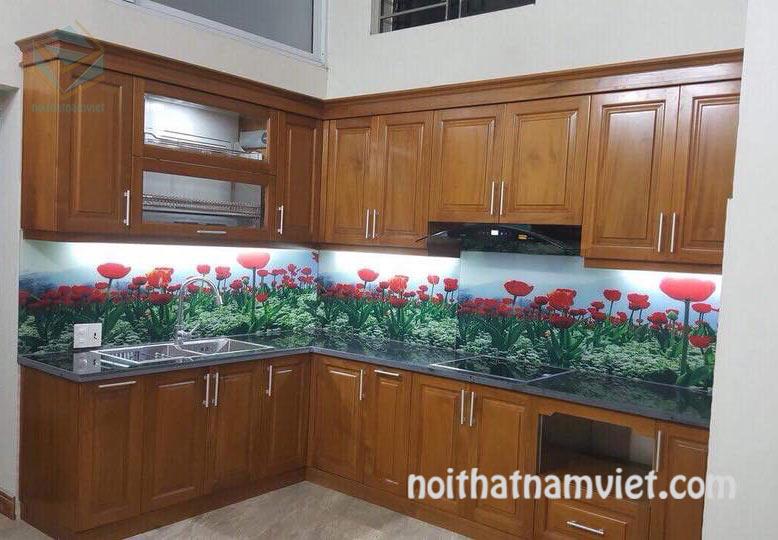 Thiết kế thi công tủ bếp gỗ sồi sơn màu chữ L đẹp GS-1015