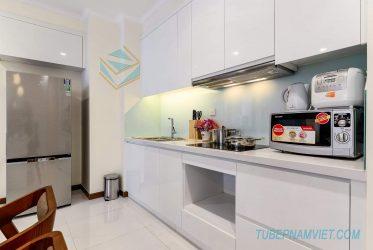 Tủ bếp gỗ Acrylic chữ I đẹp đơn giản dành cho chung cư AC-2113