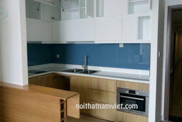 Tủ bếp MDF phủ Melamine chữ U màu trắng vân gỗ MM-0008