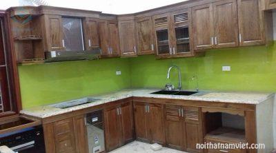 Tủ bếp gỗ Mahogany gỗ Dái Ngựa cổ điển đẹp nhất 2020 MH-4001