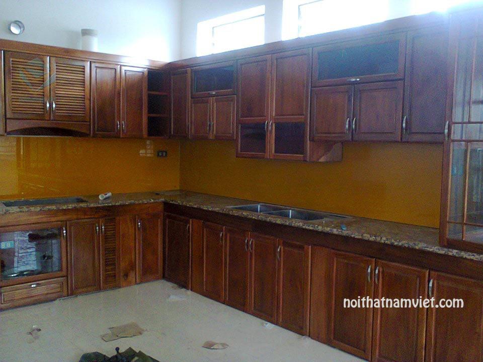 Tủ bếp gỗ Mahogany gỗ Dái Ngựa cổ điển đẹp nhất 2019 MH-4002