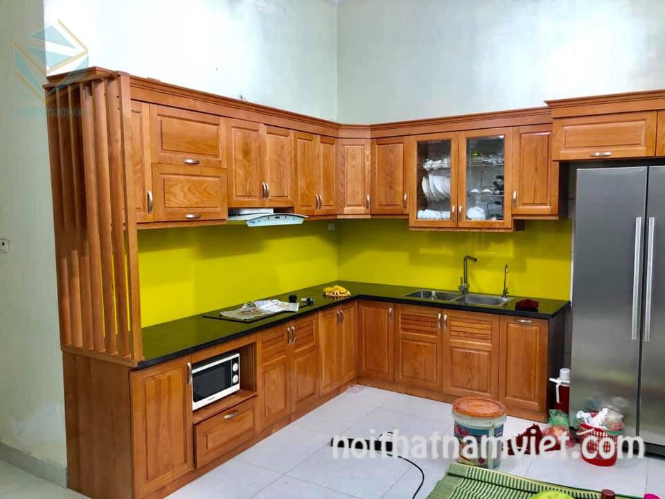 Giá tủ bếp gỗ gõ đỏ Nam Phi đẹp đẳng cấp GD-3003