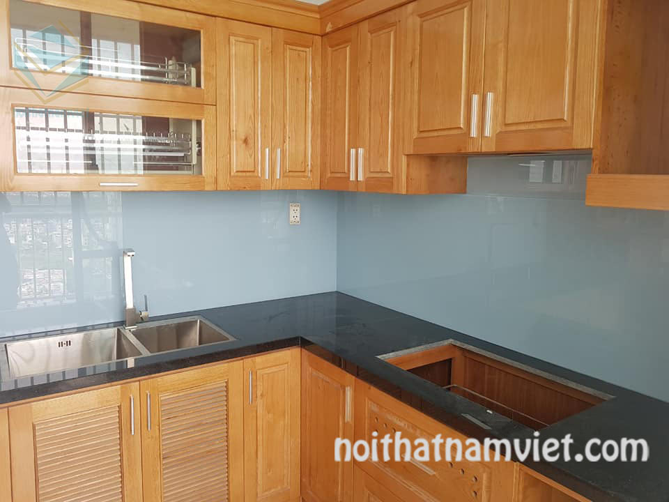 tủ bếp gỗ sồi tự nhiên GS-1084 đẹp