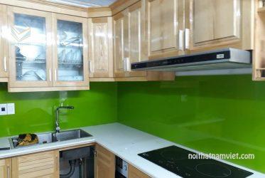 Tủ bếp gỗ sồi Mỹ chữ l tự nhiên mới nhất 2019 GS-1017