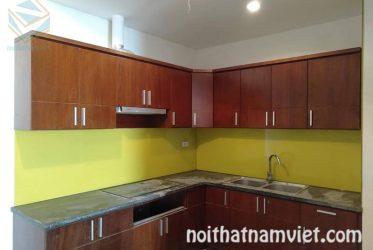 Mẫu tủ bếp gỗ MDF kháng ẩm Phủ Melamine màu cánh gián MM-0020