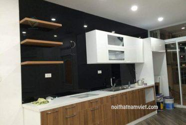 Tủ bếp MDF phủ Melamine chữ I màu trắng vân gỗ MM-0011