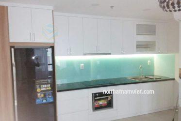 Mẫu tủ bếp gỗ MDF kháng ẩm phủ melamine chữ I màu trắng MM-0014