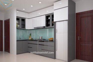 Thi công tủ bếp Acrylic tông màu xám trắng cho căn hộ nhà anh Quốc