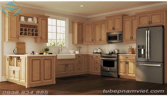Tủ bếp gỗ tần bì tự nhiên đẹp