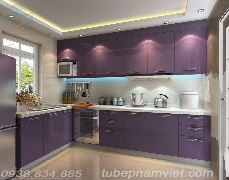 tủ bếp acrylic màu tím đẹp cho người mệnh thổ