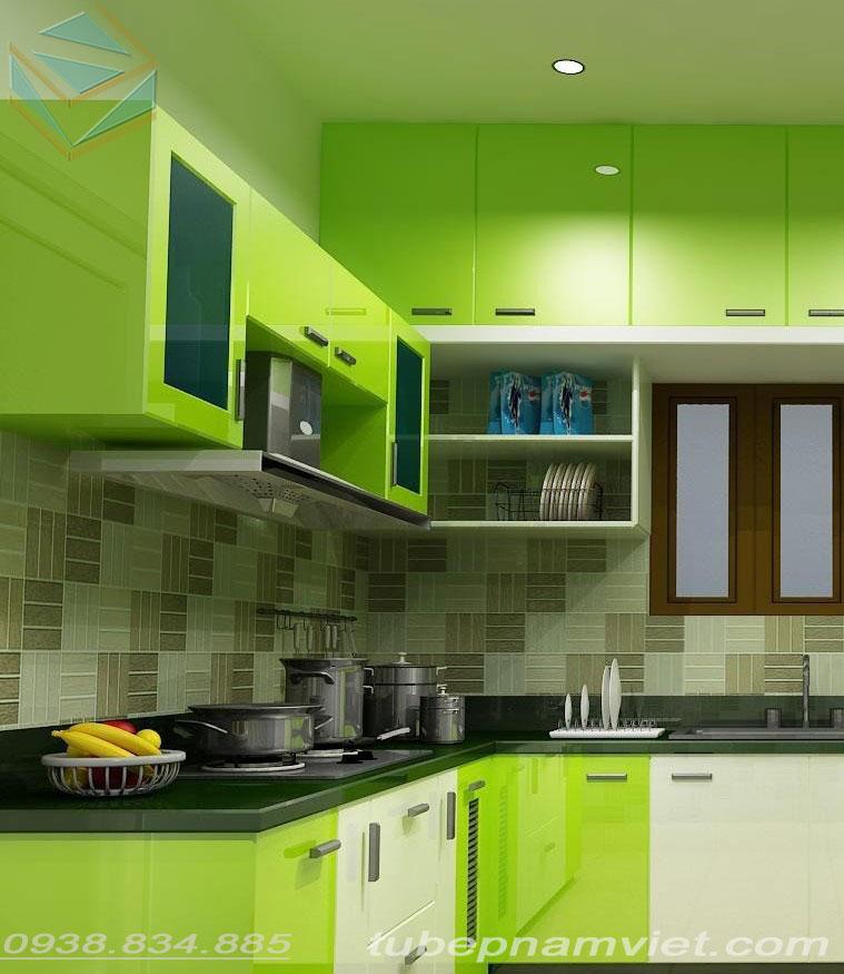 Tủ bếp gỗ acrylic tông xanh neon hợp với người mệnh mộc