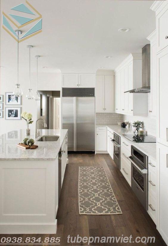 tủ bếp gỗ sồi tông trắng dáng bếp song song