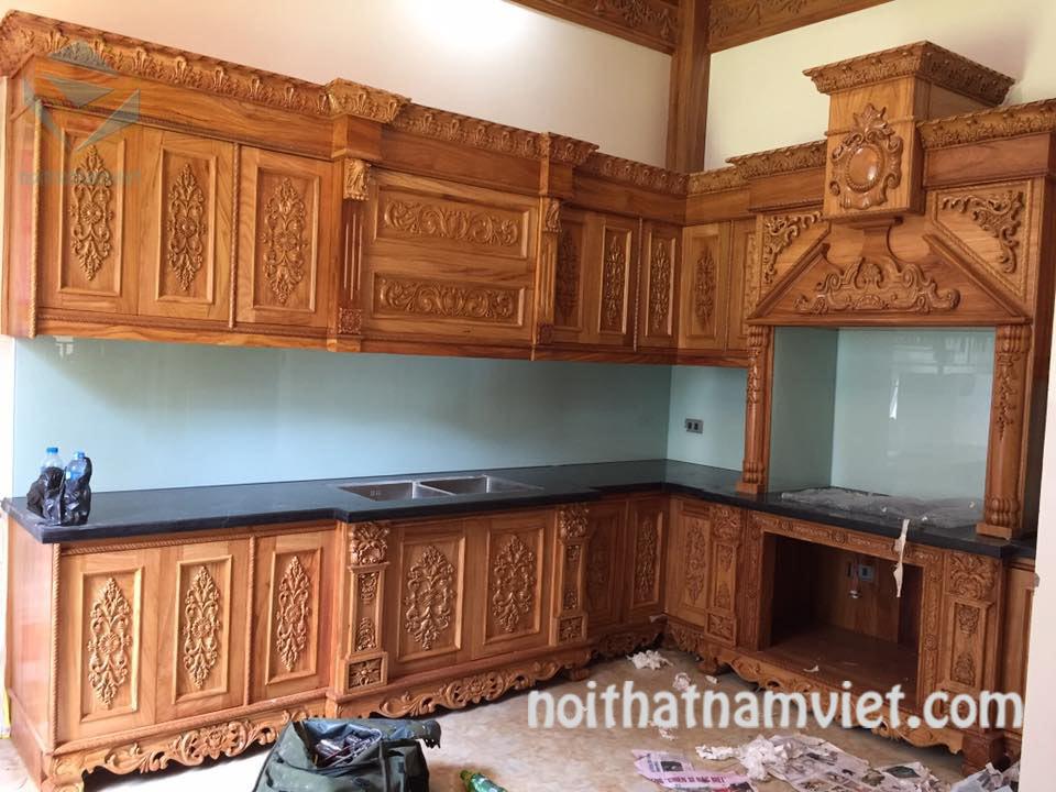 Tủ bếp gỗ gỏ đỏ