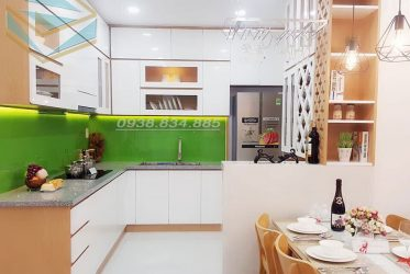 Tủ bếp gỗ giá rẻ – Tủ bếp gỗ Acrylic chữ L AC-2127 đẹp giá tốt nhất TPHCM