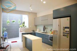 Mẫu tủ bếp Melamine có bản đảo đẹp MM-0025