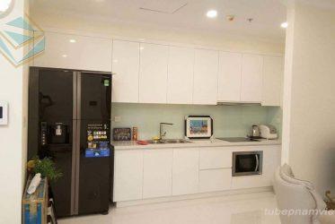 Tủ bếp chung cư nhỏ đẹp chữ I gỗ Acrylic trắng bóng gương AC-2129