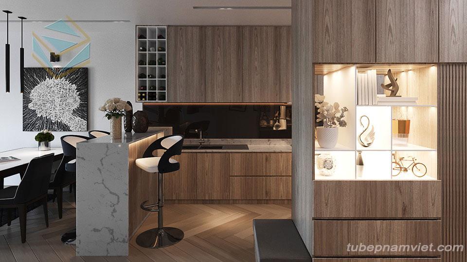 Tủ bếp hiện đại Melamine cho chung cư