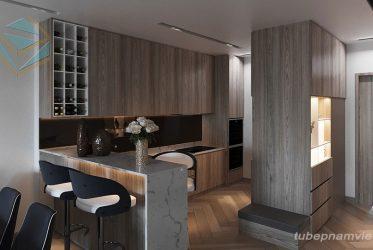 Tủ bếp hiện đại cho chung cư – Tủ bếp Melamine đẹp sang trọng MM-0026