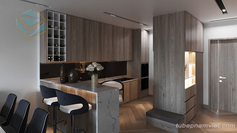 Tủ bếp gỗ Melamine hiện đại MM-0026