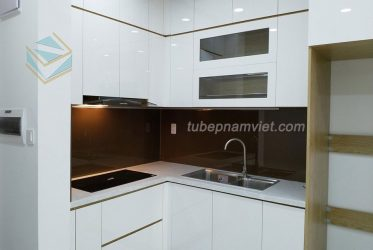 Mẫu tủ bếp gỗ mini cho căn hộ nhỏ màu trắng nhỏ đẹp hiện đại AC-2132
