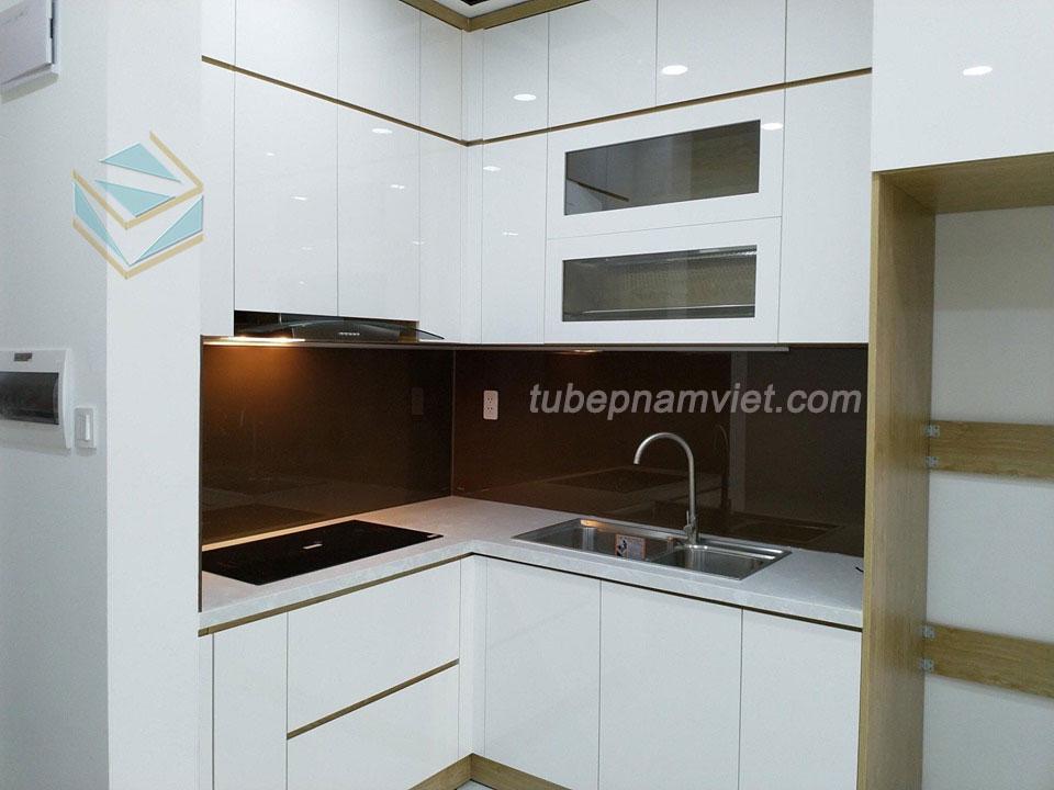 Mẫu tủ bếp mini gỗ Acrylic màu trắng nhỏ đẹp hiện đại AC-2132 cho căn hộ nhỏ -