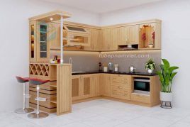 Tủ bếp gỗ tự nhiên Tần Bì AS-2015