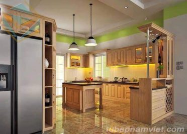 Tủ bếp gỗ Tần Bì thiết kế sang trọng đẹp cuốn hút