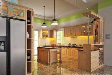Tủ bếp gỗ Tần Bì thiết kế sang trọng đẹp cuốn hút AS-2016