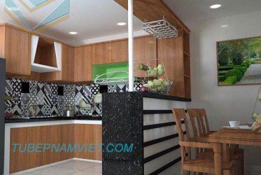 Mẫu thiết kế tủ bếp tân cổ điển kết hợp quầy bar nhỏ sang trọng Quận 3
