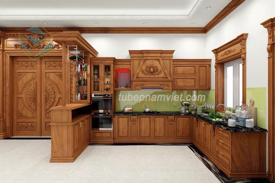 mẫu-thiết-kế-tủ-bếp-gỗ-Gõ-Đỏ-tự-nhiên-cao-cấp