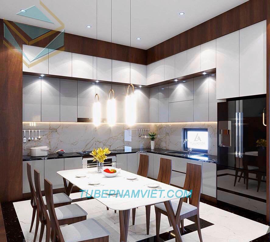Tủ bếp gỗ công nghiệp Acrylic bóng gương An Cường đẹp dành cho căn hộ Penhouse