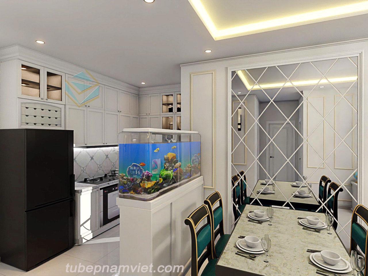 Mẫu thiết kế tủ bếp gỗ theo phong cách bán cổ điển dành cho căn hộ