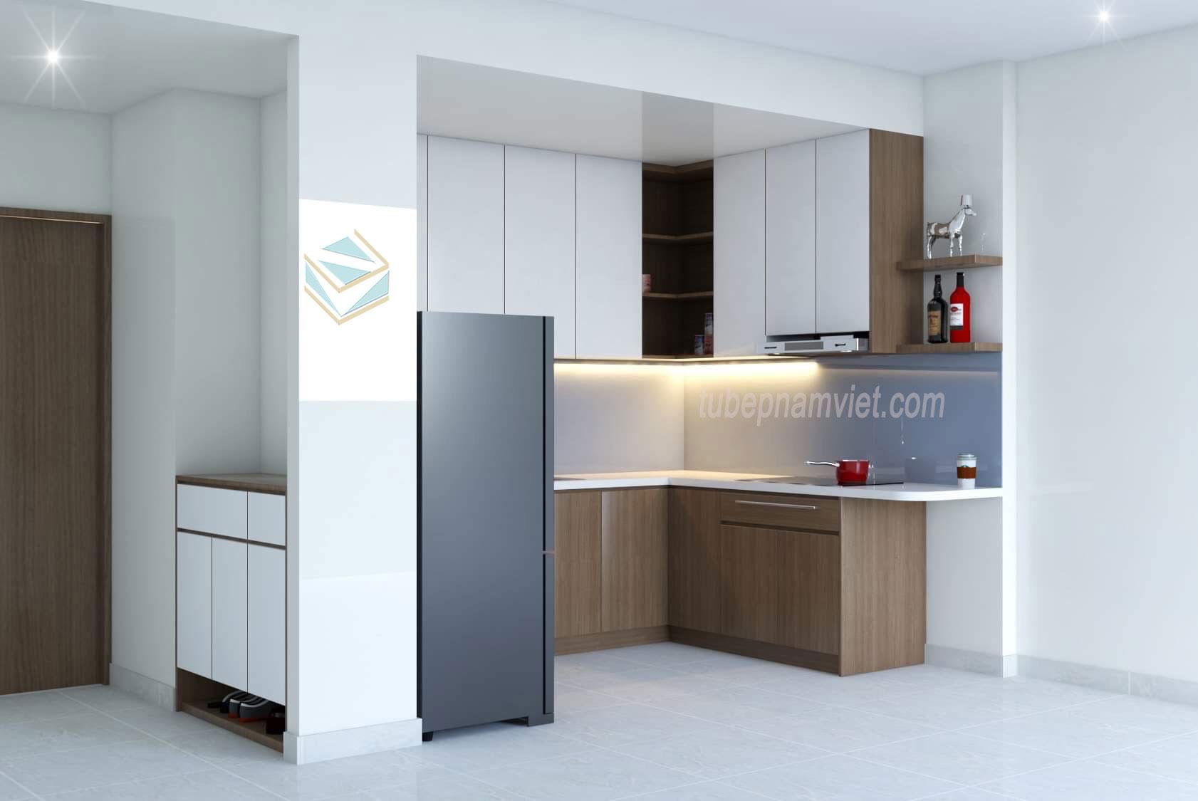 mẫu tủ bếp gỗ công nghiệp căn hộ chung cư