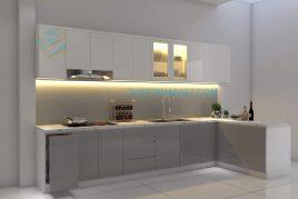 Mẫu tủ bếp gỗ MDF kháng ẩm chữ L mini dành cho căn hộ nhỏ