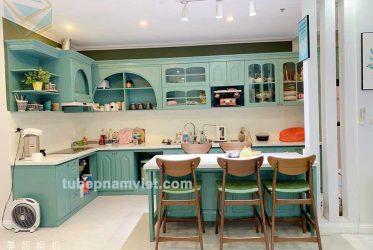 Ngất lịm với vẻ đẹp tủ bếp gỗ sồi sơn xanh ngọt ngào tân cổ điển