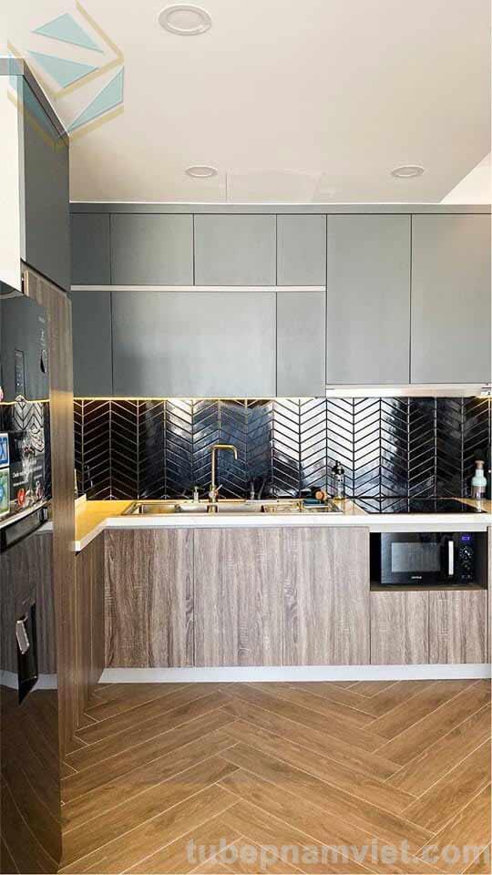 tủ bếp gỗ melamine tông xám xanh chữ L